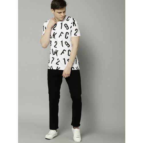 French Connection White & Black Printed Round Neck T-shirt