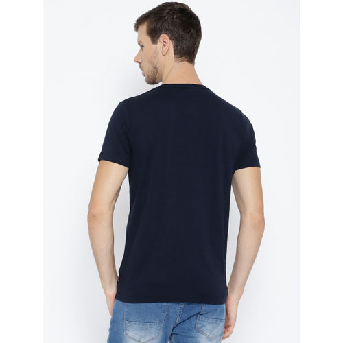 French Connection Navy Blue Printed Slim Fit Round Neck T-Shirt