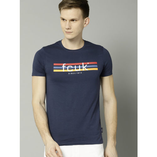 French Connection Navy Blue Printed Round Neck T-shirt