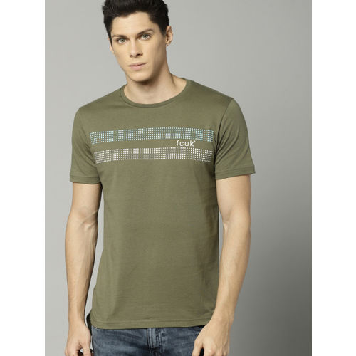 d71916e0 ... French Connection Men Olive Green Printed Round Neck T-shirt ...