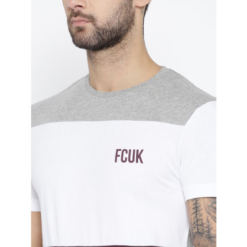 French Connection Men Maroon & White Colourblocked Round Neck T-shirt