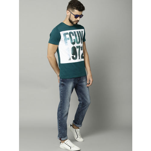 French Connection Men Teal Green Printed Round Neck T-shirt