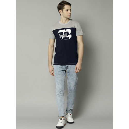 French Connection Men Navy & Grey Slim Fit Printed Round Neck T-shirt