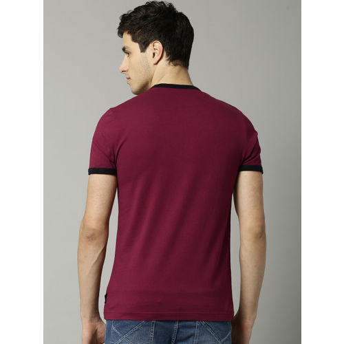 French Connection Maroon Solid Round Neck T-Shirt