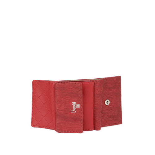 Baggit Women Red Textured Three Fold Wallet