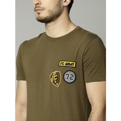 French Connection Olive Printed Regular Fit Round Neck T-shirt