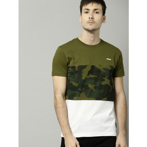 893ccf76 ... French Connection Olive Printed Slim Fit Round Neck T-Shirt ...