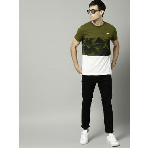 French Connection Olive Printed Slim Fit Round Neck T-Shirt