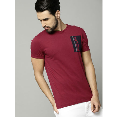 French Connection Maroon Printed Slim Fit Round Neck T-Shirt