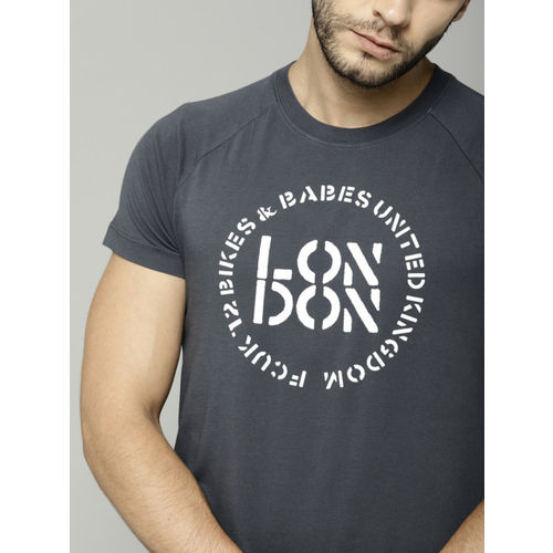 French Connection Men Grey Printed Round Neck T-shirt