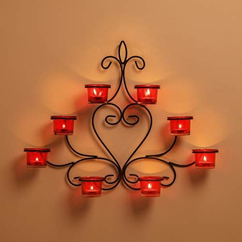 Homesake 8-Votive Chic Black Iron Wall Sconce Candle Holder, Red Candle Wall Art