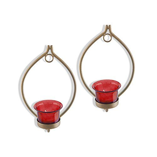 Homesake Set of 2 Decorative Golden Eye Wall Sconce/Candle Holder with Red Glass and Free T-Light Candles