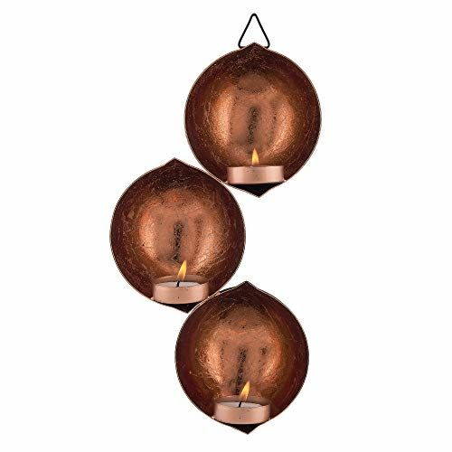 Homesake Wall Hanging Metal Tri-Drop Hanging Candle Holder, Wall Candle Scone