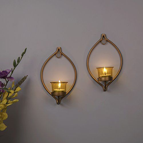 Homesake Set of 2 Decorative Golden Eye Wall Sconce/Candle Holder with Yellow Glass and Free T-Light Candles