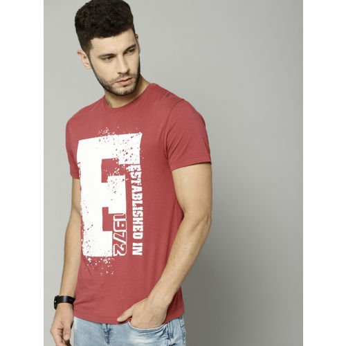 French Connection Men Red Printed Round Neck T-shirt