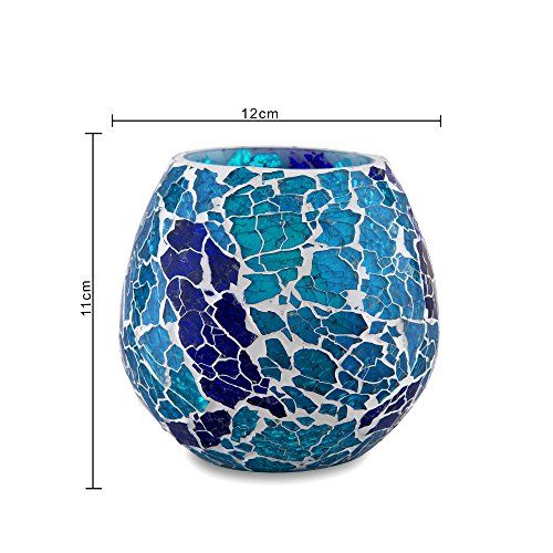 Homesake Moroccan Turquoise Glass Crackle Mosaic Candle Holder, Tea Light Holder Votive, Set of 2