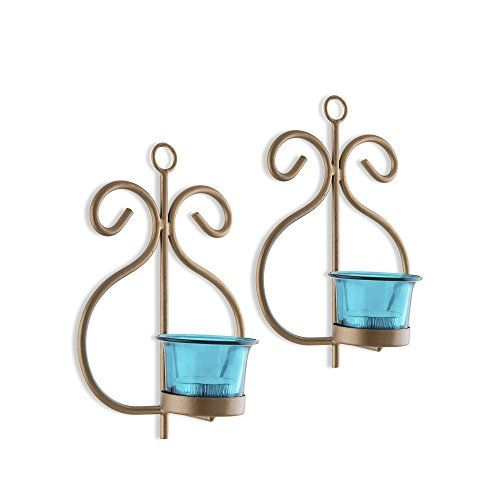Homesake Set of 2 Decorative Golden Wall Sconce/Candle Holder with Turquoise Glass and Free T-Light Candles