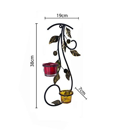Homesake Wall Hanging Leafy Vine Candle Stand with Red and Yellow Glass and Candles
