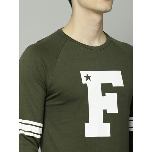 French Connection Men Olive Green Slim Fit Printed Round Neck T-shirt