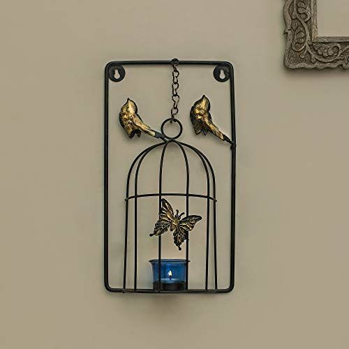 Homesake Metal Tealight Holder Butterfly Cage with Glass Candle, Wall Candle Holder Art, Metal Wall Scone Decor