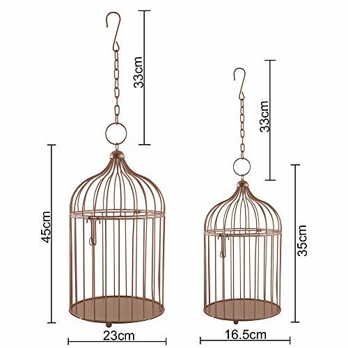 Homesake Copper Bird Cage (Set of 2), with Hanging Chain, Rose Gold