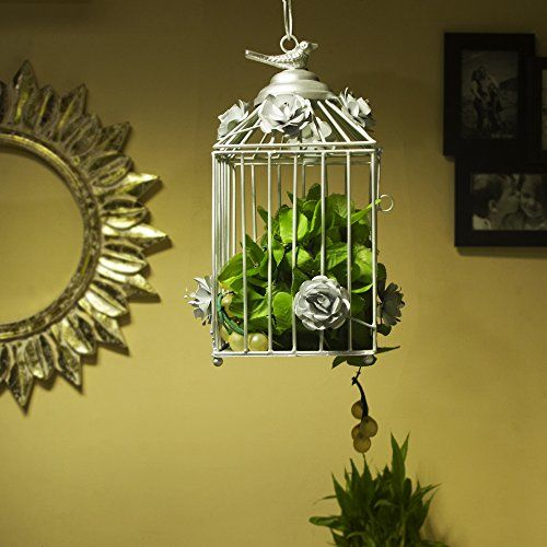 Homesake Decorative Hanging Bird Cage, Balcony/Patio Planter Cage/Hanging Candle Holder, Silver