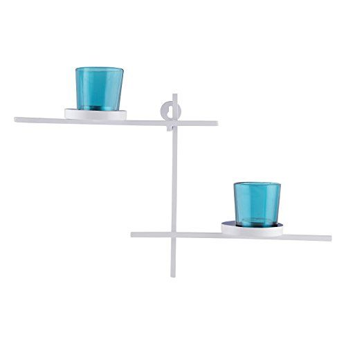 Homesake White Scorching Ladder with Pair of Votive Turquoise, Wall Hanging Candle Holder