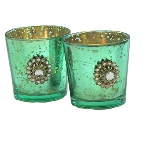 Homesake Silver Glass Votive with Jewel Brooch (Set of 2) Turquose