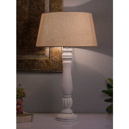 Homesake White Solid Handcrafted Table Lamp with Shade