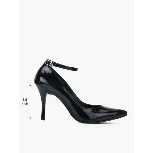 HEATWAVE Hadley Black Ankle Strap Stilettos