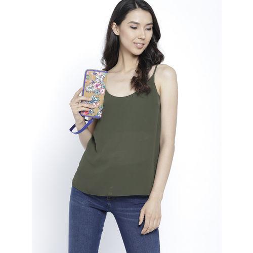 United Colors of Benetton Women Beige & Blue Embroidered Zip Around Wallet