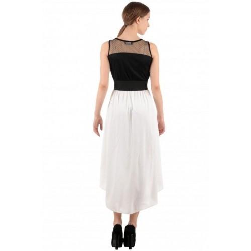Raabta Black & White Polyester Solid Tail Cut Dress
