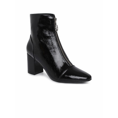 7652cdbccee Buy FOREVER 21 Women Black Solid Heeled Boots online