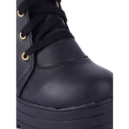 Wood Brough Women Black Solid Heeled Boots