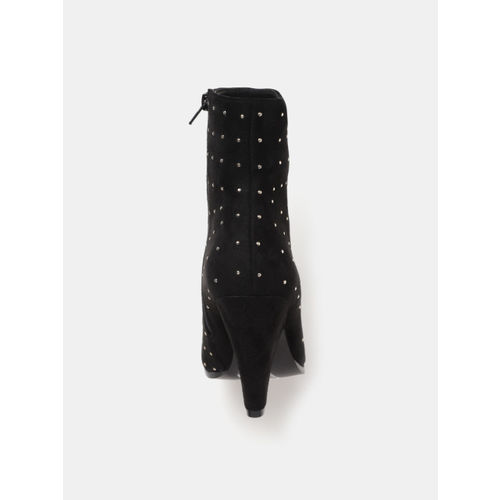 CORSICA Women Black Embellished Mid-Top Heeled Boots