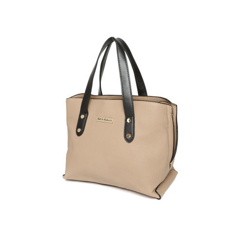 Mast & Harbour Beige Solid Handheld Bag with Detachable Sling Strap