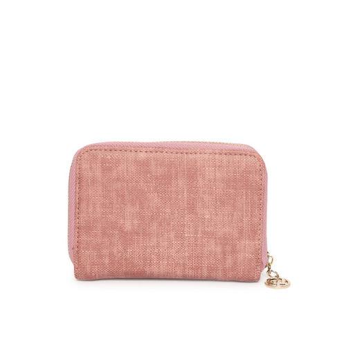 Lino Perros Women Pink Textured Zip Around Wallet