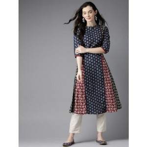 Moda Rapido Navy Blue Cotton Printed A-Line Kurta