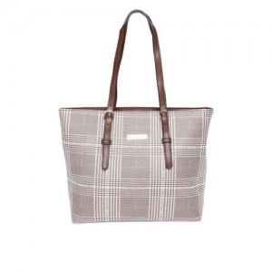 Mast & Harbour Brown & Off-White Checked Shoulder Bag