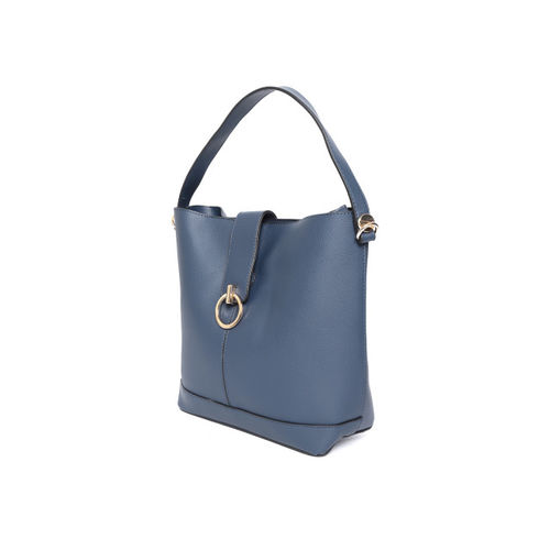 Mast & Harbour Navy Blue Solid Shoulder Bag with Pouch