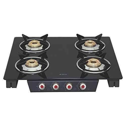 Elica Patio Ict 460 Blk Ai Steel, Glass Automatic Gas Stove(4 Burners)