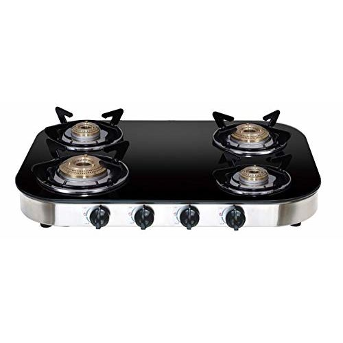 Elica Glass Top 4 Burner Gas Stove with Spill Proof Drip Tray (TURNO 654 CT DT VETRO, Stainless Steel +Glass)