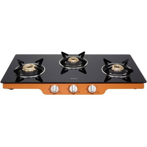Elica Patio Ict 773 Org Steel, Glass Manual Gas Stove(3 Burners)