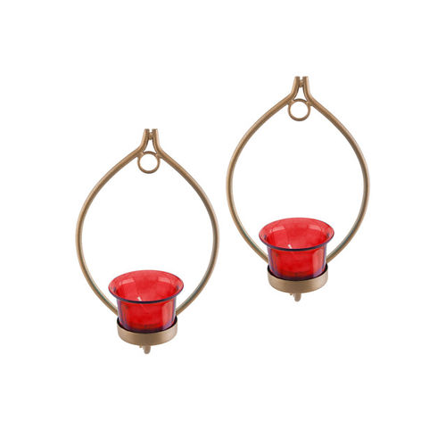 Homesake Gold-Toned & Red Set Of 2 Candle Holders