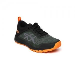ASICS Men Green & Black GECKO XT Woven Design Running Shoes