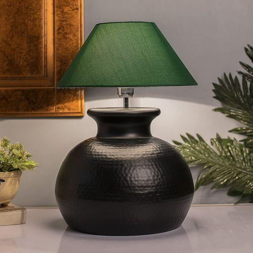 Homesake Matt Black Hammered Pitcher Table Lamp with Green Cone Shade Table Lamp(50 cm, Matt Black)