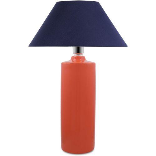 Homesake Ceramic Base Orange Table Lamp with Blue Cone Shade, LED Bulb Table Lamp(56 cm, Orange)