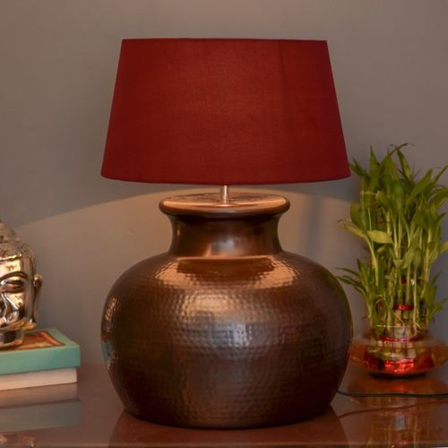 Homesake Antique Copper Hammered Pitcher Table Lamp with Red Shade Table Lamp(50 cm, Copper)