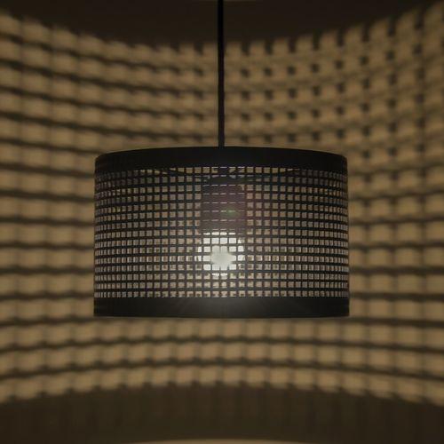 Homesake Hanging Metal Lamp Shade with Deco Cube Pattern, Matt Black Pendant Light, E27 Pendants Ceiling Lamp
