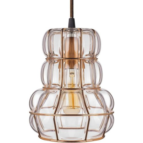 Homesake Crown Glass Blown Metal Pendant Light, Edison Industrial Hanging E27 Ceiling Light, Rose Gold Pendants Ceiling Lamp